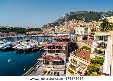 View of Monaco Hercule port - stock photo