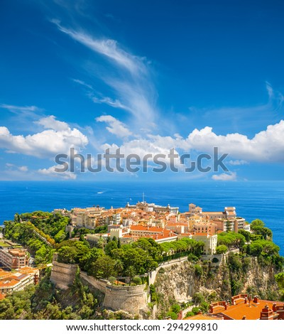 View of Monaco with Prince's Palace and Oceanographic Museum. French riviera. Mediterranean Sea landscape with beautiful blue sky - stock photo