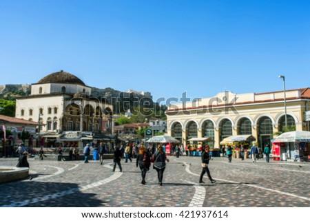 view of Monastiraki square in Athens with crowd - stock photo