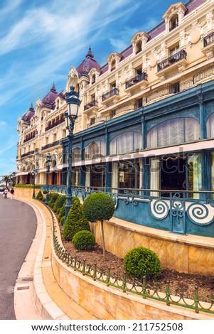 View of Monte Carlo casino facade, Cote d'Azur, France - stock photo