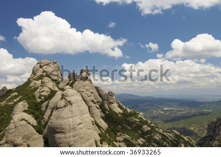 View of Montserrat mountains in Spain