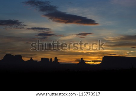 View of monument valley early in the morning