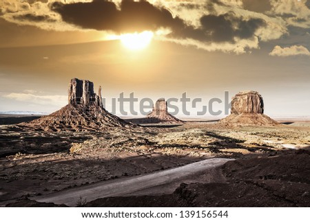 View of Monument Valley from Jhon Ford Point. - stock photo