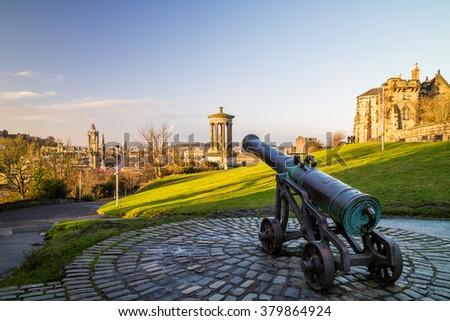 View of monuments on Calton Hill in Edinburgh - Scotland - stock photo