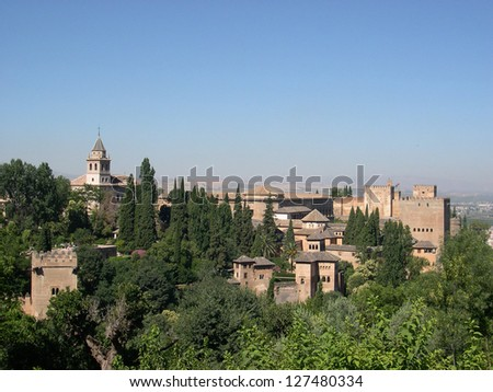View of Moorish castle in Alhambra, Spain - stock photo
