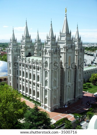 view of Mormon Temple in Salt Lake City Utah, USA on a spring day