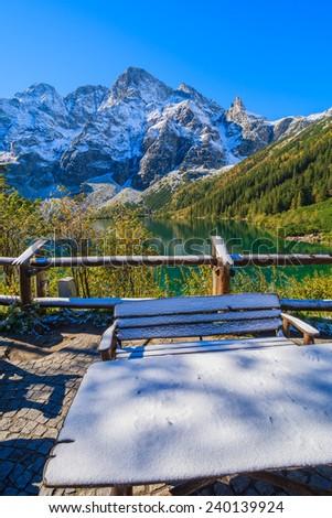 View of Morskie Oko lake in autumn season, Tatra Mountains, Poland - stock photo