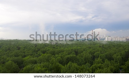 View of Moscow from high after spring rain