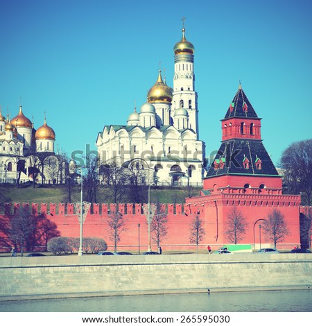 View of Moscow Kremlin, Russia. Instagram style filtred image - stock photo