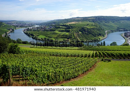 View of Mosell valley on the border Luxembourg and Germany