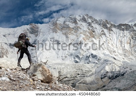 View of Mount Annapurna with tourist, Nepal