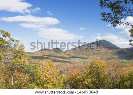 View of Mount Blue in fall, Mount Blue State Park, Weld, Maine. - stock photo