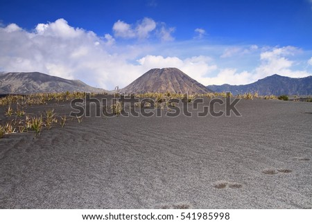 View of Mount Bromo during sunrise. Image has grain or blurry or noise and soft focus when view at full resolution. (Shallow DOF, slightly blur because of the carpet clouds)