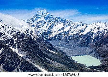 View of Mount Cook and lake, New Zealand - stock photo