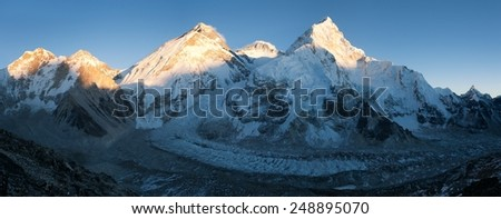View of Mount Everest, Lhotse and Nuptse from Pumo Ri base camp - way to Mount Everest base camp - Nepal  - stock photo