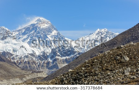 View of Mount Everest (8848 m) and Lhotse (8516 m) from the fifth lake (Ngozumba Tsho) - Gokyo region, Nepal, Himalayas