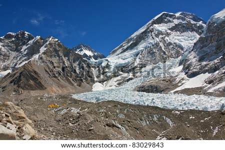 View of Mount Everest (8848 m), Khumbu glacier,  and Everest Base Cemp - Nepal, Himalayas