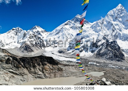 View of Mount Everest Summit in Himalaya Mountains, Nepal. Summer landscape and blue sky. - stock photo