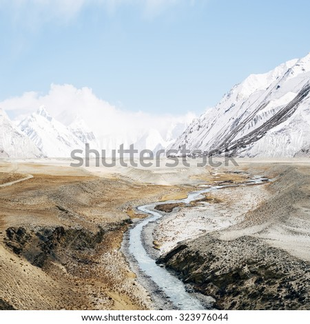 View of Mount Everest with beautiful sky - stock photo