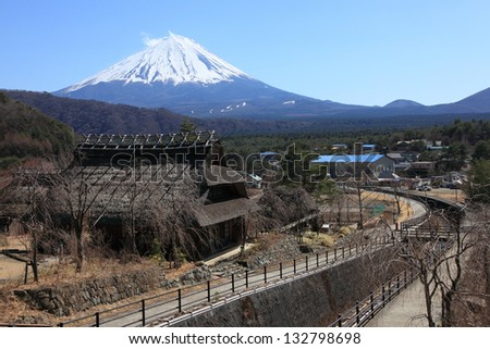 View of Mount Fuji from  Saiko Iyashino-Sato Nenba (Healing Village) in march 2013