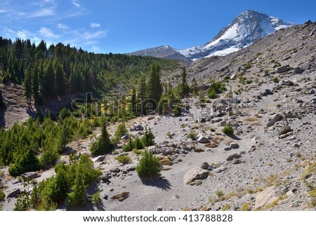 View of Mount Hood on a background of blue sky from Tilly Jane Creek canyon. Cooper Spure, Oregon, USA Pacific Northwest. - stock photo
