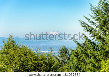 View of Mount St Helens as seen from Portland, Oregon - stock photo