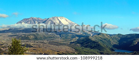 view of mount st helens with castle lake - stock photo