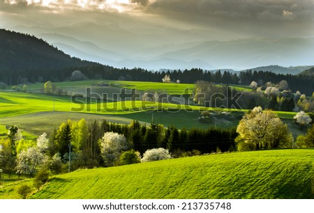 view of mountain field and meadow in the heart of Europe, Povraznik (Slovakia)
