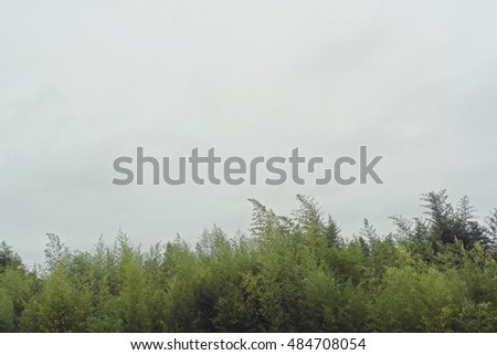 View of mountain in windy and foggy weather