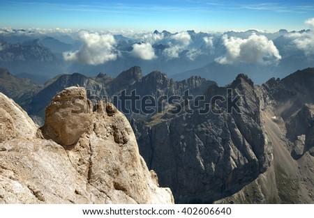 view of mountain range in the italian alps - stock photo