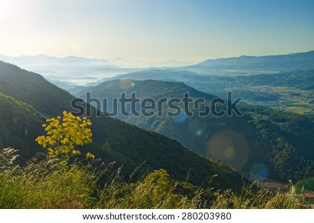 view of mountain range, valley and plants in foreground in morning sunlight, Turkey - stock photo