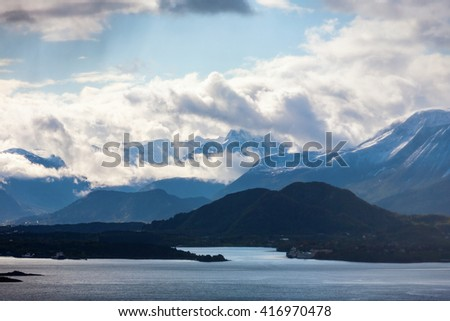 View of mountains and fjords in Norway - stock photo