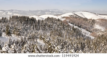 View of mountains and forests on a sunny winter day after a snowfall - stock photo