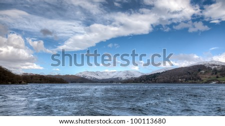 View of mountains and lake from windermere