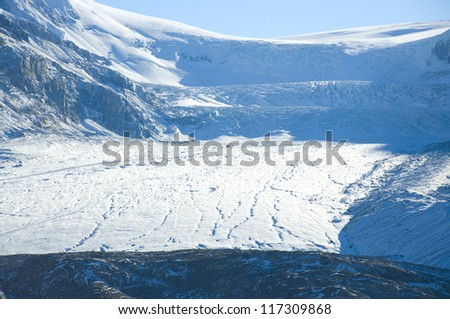 View of mountains and the icefields along the Icefield Highway in Jasper National Park, Alberta. - stock photo