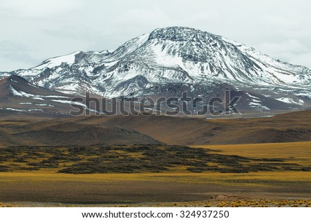 View of mountains in Sico Pass, Chile - stock photo