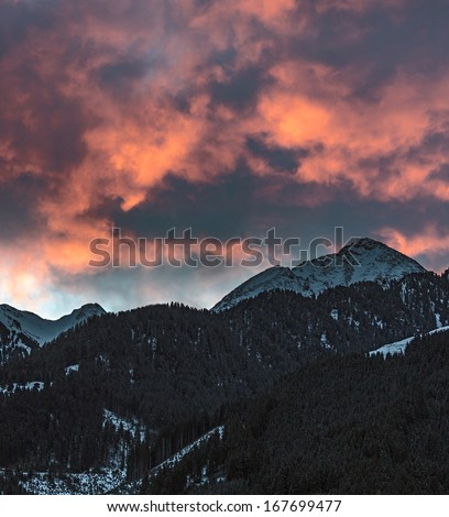 View of mountains of a valley of Zillertal in sunrise - Mayrhofen, Austria