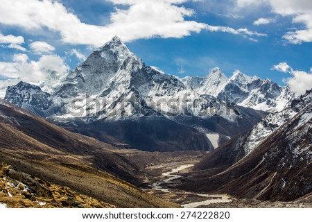View of Mt.Amadablam on the way to Everest base camp, Nepal - stock photo