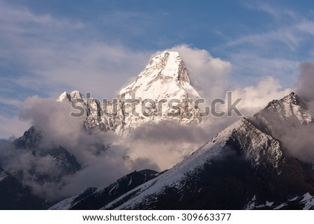 View of Mt.Amadablam on the way to Everest base camp, Nepal