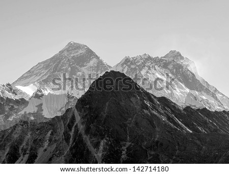 View of Mt. Everest (8848 m) and Lhotse (8516 m) from the Gokyo Ri - Gokyo region, Nepal, Himalayas (black and white) - stock photo