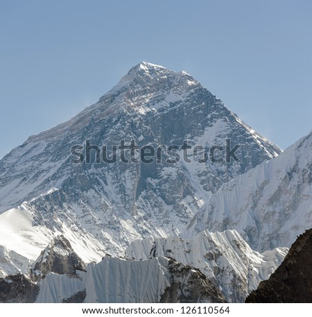 View of Mt. Everest (8848 m) from the Renjo Pass - Gokyo region, Nepal, Himalayas - stock photo