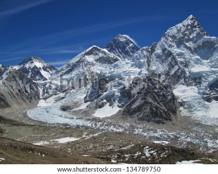 View of Mt Everest, Nuptse and Everest Base Camp