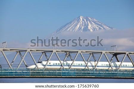 View of Mt. Fuji and Tokaido Shinkansen, Shizuoka, Japan  - stock photo