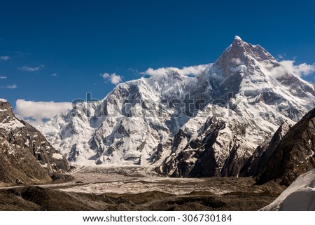 View of Mt.Masherbrum from Goro I, Pakistan