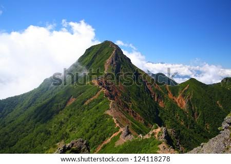 View of Mt. Yatsugatake in summer, Nagano, Japan - stock photo