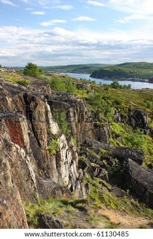 view of Murmansk in the summer - stock photo