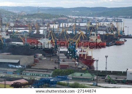 view of murmansk seaport - stock photo