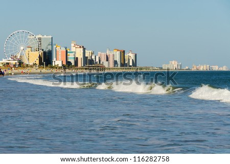 View of Myrtle Beach South Carolina in evening - stock photo