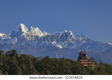 view of Nagarkot village, Nepal - stock photo