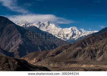 View of Nanga Parbat on Karakoram highway, Pakistan - stock photo